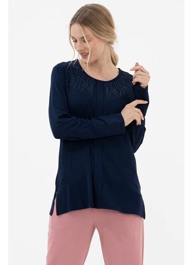 Sementa Yakası Taş Detaylı Uzun Kol Bluz - Lacivert Lacivert
